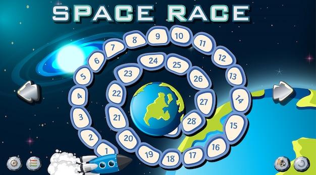 Tablero de juego de carrera espacial