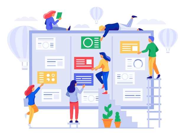 Tablero kanban. ilustración de vector de coherencia de proceso de gestión de proyectos ágiles, colaboración de equipo de oficina y proyectos