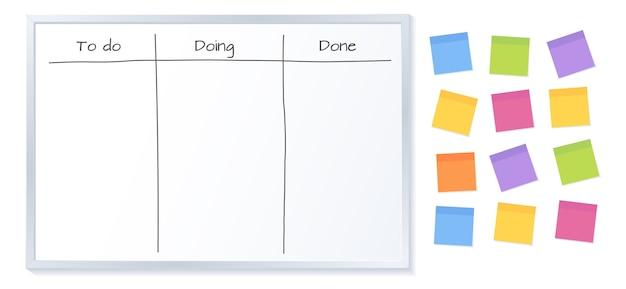 Tablero kanban con papeles de notas adhesivas en blanco para escribir tareas.