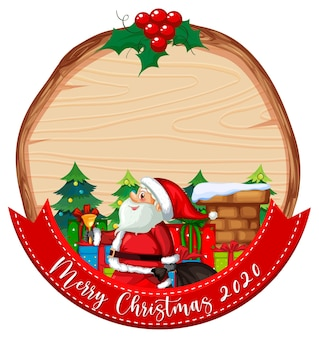 Tablero de madera en blanco con el logotipo de la fuente feliz navidad 2020 y santa claus