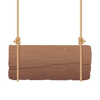 Tablero de madera colgando de cuerdas