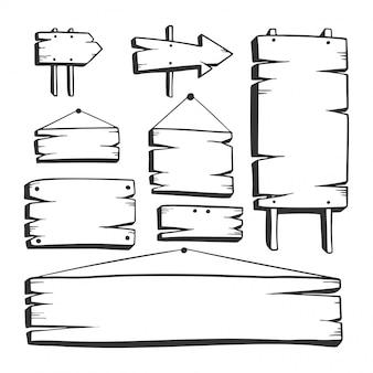 Tablero de madera dibujado a mano