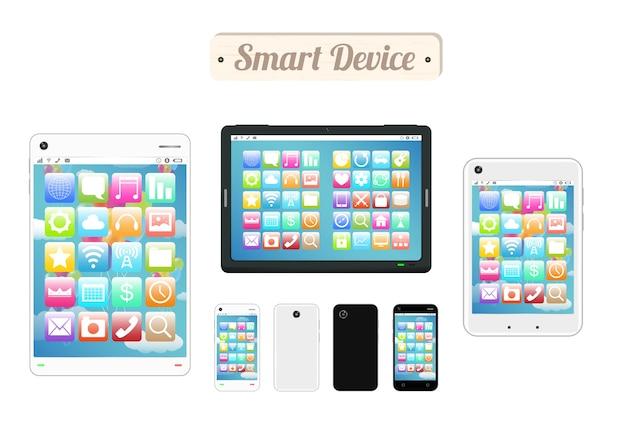 Tablero de madera de dispositivo inteligente con teléfono inteligente y tableta