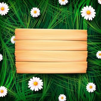 Tablero de madera en pradera
