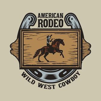 Tablero de madera del salvaje oeste con vaquero a caballo y herradura