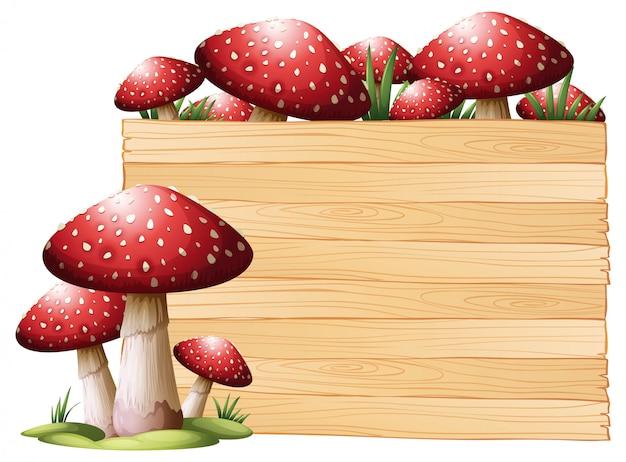 Tablero de madera con setas