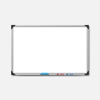 Tablero de marcador blanco vacío sobre fondo blanco