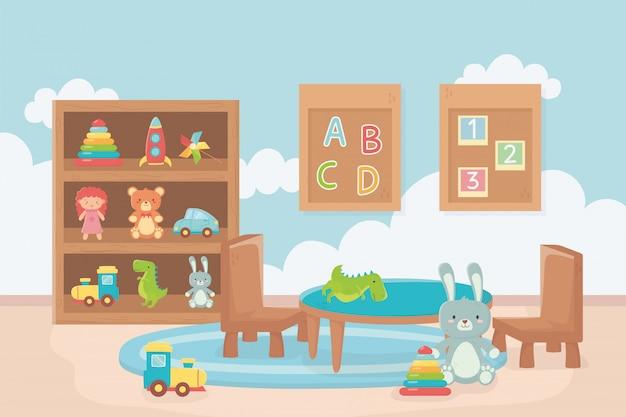 Tablero con números alfabeto mesa silla estantería juguetes