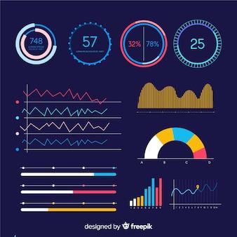 Tablero oscuro de infografía empresarial