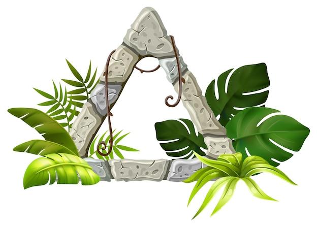 Tablero de piedra con hierba de hojas tropicales