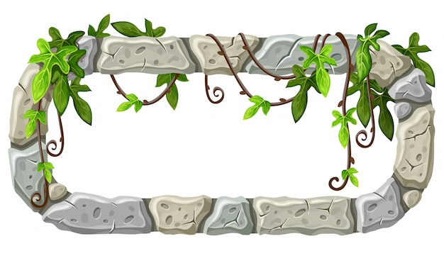 Tablero de piedra con ramas y hojas de liana.