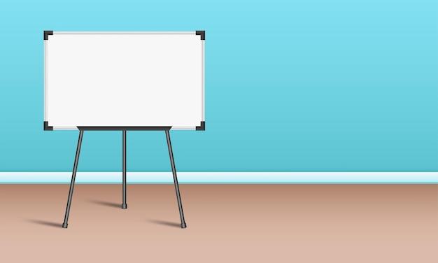 Tablero de presentación de marcador blanco vacío en el soporte del piso