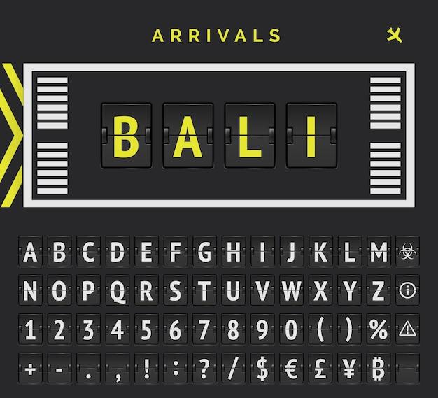 Tablero de puntuación analógico con vector de estilo de marcado de pista de aeropuerto con la isla de bali como destino de llegadas.