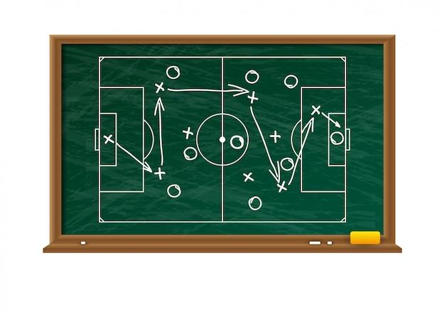 Tablero de tiza con campo de juego de fútbol