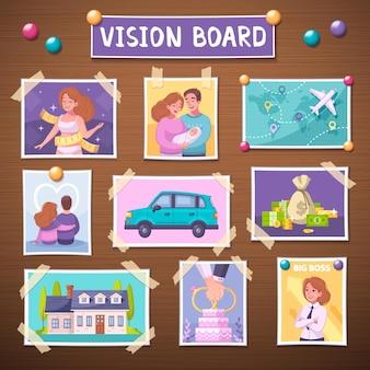 Tablero de visión con ilustración de dibujos animados de símbolos de planificador de logros futuros