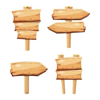 Tableros de madera viejos de la muestra de la historieta en blanco aislados