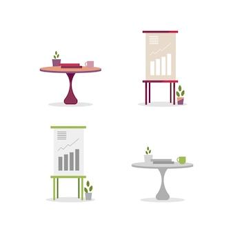 Tableros de estadísticas y tablas de conjunto de objetos de color plano. mobiliario y material de oficina. ilustración de dibujos animados aislados interiores de negocios para diseño gráfico web y colección de animación