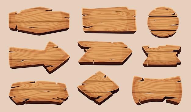 Tableros de madera de dibujos animados. letrero en blanco de la plantilla de cintas de madera de etiqueta rústica. ilustración marco de tablón de madera, tablero de letrero de madera