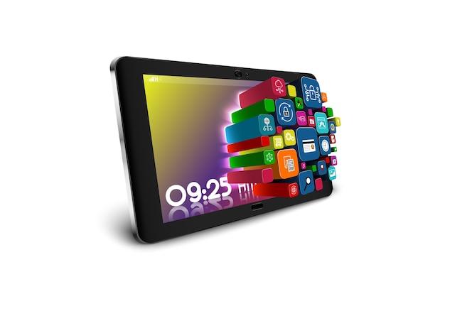 Tablet pc con coloridos iconos de aplicaciones aislados