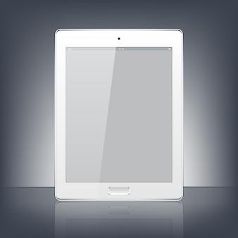 Tablet pc digital blanco moderno aislado en el fondo negro.