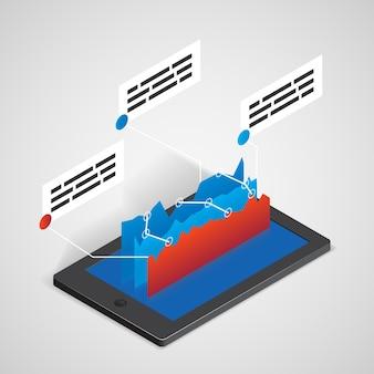 Tablet pc con gráfico, concepto de negocio de vector para infografías y presentaciones