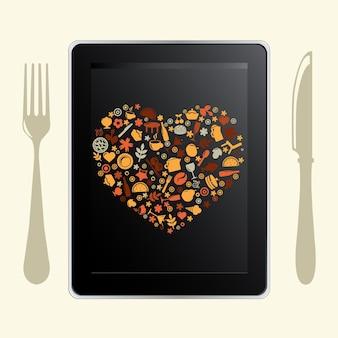 Tablet pc y los iconos de alimentos, aislado sobre fondo blanco,