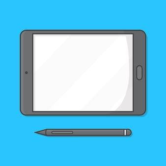 Tablet pc con la ilustración del icono de lápiz