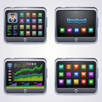 Tablet pc con pantalla táctil con iconos aislado sobre fondo blanco.