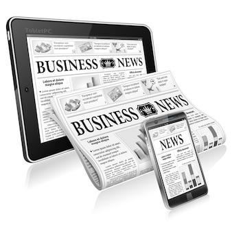 Tablet pc con periódico