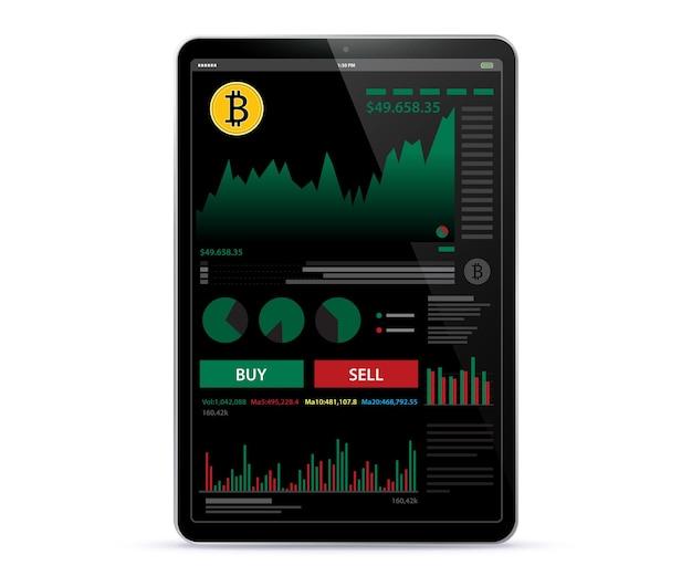 Tablet pc con plantilla de diseño de interfaz de usuario de pantalla de la aplicación de finanzas y comercio en línea de criptomonedas