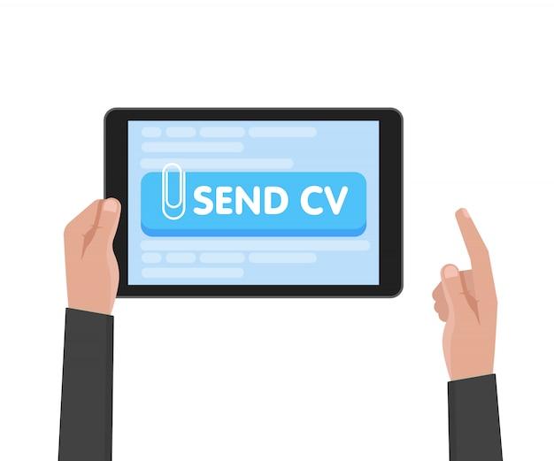 Tableta del asimiento de la mano del hombre de negocios con la plantilla del curriculum vitae. enviar botones de cv. trabajo y concepto de búsqueda de empleo
