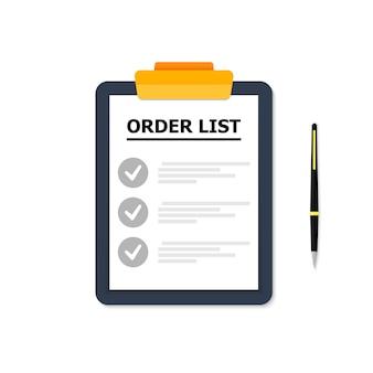 Tableta azul con lista de casos en blanco