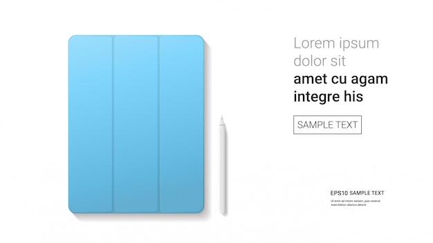Tableta cerrada con lápiz óptico aislado en la pared blanca gadgets de maquetas realistas y concepto de dispositivos