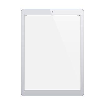 Tableta de color gris con pantalla táctil en blanco aislado sobre fondo blanco.