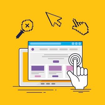 Tableta con cursor de puntero de mano e información del sitio web