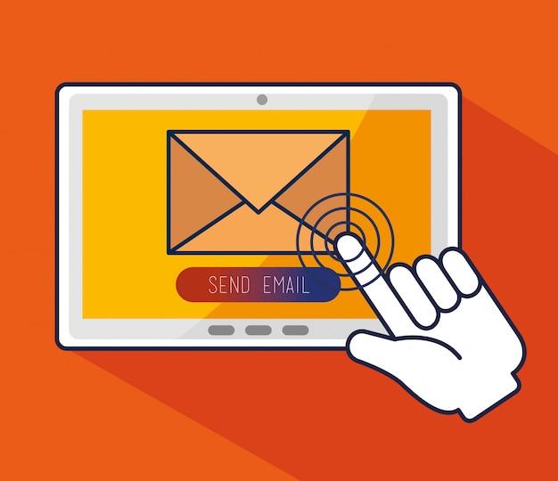 Tableta con cursor de puntero de mano y mensaje
