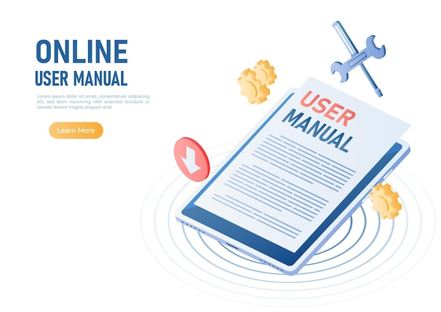 Tableta digital 3d isométrica web banner con documento de manual de usuario. concepto de libro de instrucciones o manual de usuario en línea.