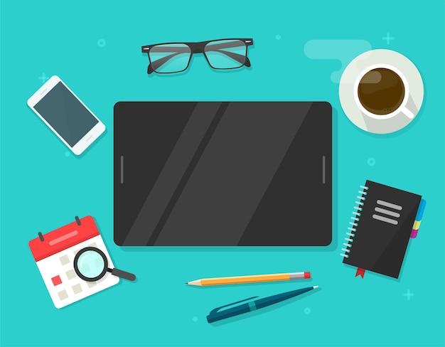 Tableta digital con plantilla de pantalla vacía en blanco para copiar texto de espacio en la vista superior del escritorio de la mesa de trabajo