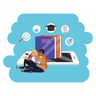 Tableta de estudiante milenario de educación en línea