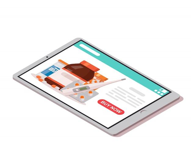 Tableta con farmacia en línea abierta en la pantalla y botón para comprar. icono de farmacia en línea.