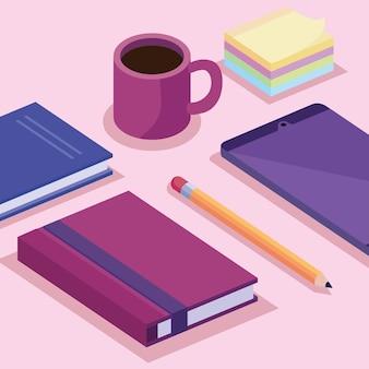Tableta con libros y taza de café, espacio de trabajo isométrico, conjunto de iconos, diseño de ilustraciones