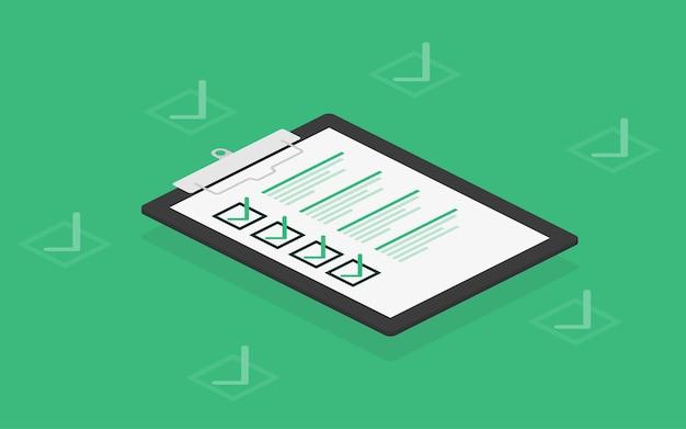 Tableta de lista de verificación en blanco