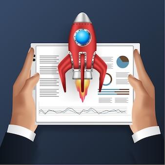 Tableta de mano con ilustración de análisis de datos y lanzamiento de cohete