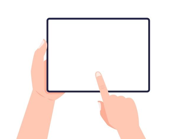 Tableta en manos. mano que sostiene la tableta y la pantalla táctil. .