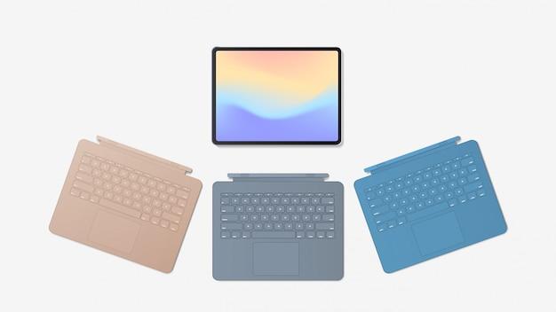 Tableta moderna con diferentes teclados y pantalla a color aislada sobre fondo blanco, dispositivos y dispositivos de maqueta realistas