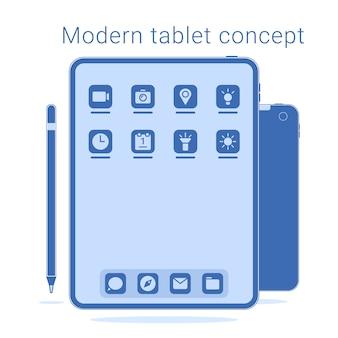 Tableta moderna sin marco con pluma