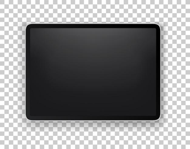 La tableta moderna realista acodó la maqueta del vector aislada en fondo transparente