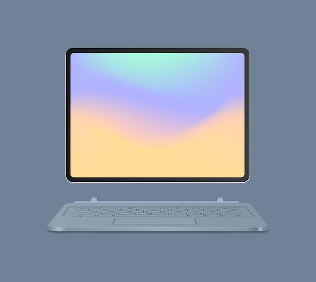 Tableta moderna con teclado y pantalla de color realista maqueta gadgets y dispositivos concepto ilustración vectorial