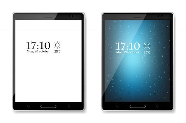 Tableta negra diseño 3d simulado