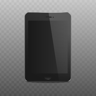 Tableta negra con pantalla en blanco realista